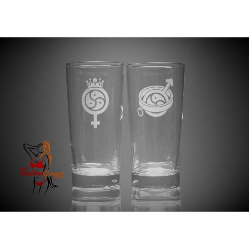BDSM Hi Ball Glasses Large x2 - Female Dominant Male Submissive