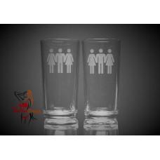 Hi Ball Glasses x2 - Female Male Female People