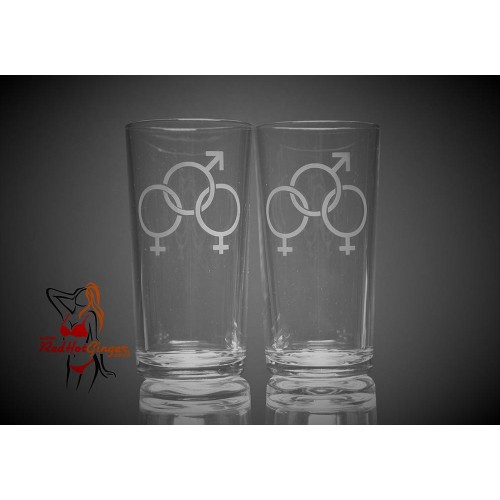 Hi Ball Glasses x2 - Female Male Female Symbol