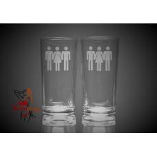 Hi Ball Glasses x2 - Male Female Male People