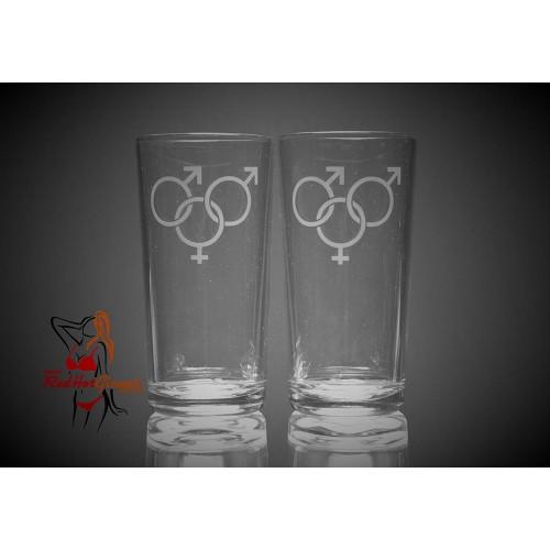 Hi Ball Glasses x2 - Male Female Male Symbol