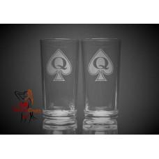 Hi Ball Glasses x2 - Queen Of Spades