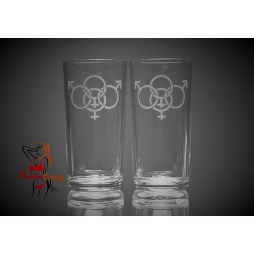 Hi Ball Glasses x2 - Swinger Symbol